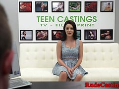 Real teen squirts before blowjob at casting