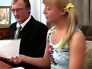 Gorgeous blonde chick visits her old professor to get an A