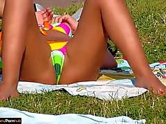 Hot Milfs Tanning at the pool