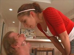 Brat princess spitting into slaves mouth degrading him