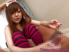 Japanese amateur plays with her hard dick