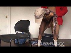 Skinny ebony hooker has a horny guy hammering her snatch fr