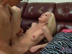 Slutty blonde Holli has her cunt plugged