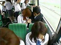 Handjob in bus