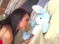 Asian Teen gets a bunny