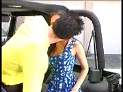 Asian girl fuck on parking while roommate watch