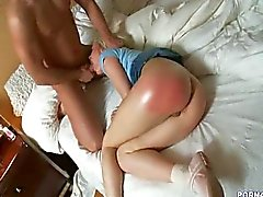Blonde gets spanking ass and pussy