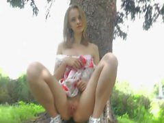 Anya - nude angel in public park
