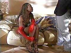 Smokin hot ebony slut shags meaty black boner while getting her cunt fingered