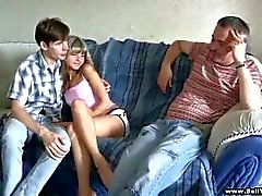 Cute teen chick fucked by older dude while bf watches