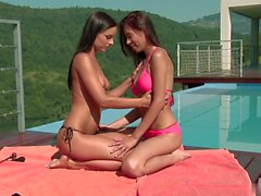 Hot lesbian fuck with perfect brunette teen outdoor