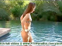 Sofia hot brunette with small tits toying pussy and swimming in bikinis and flashing tits