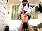 Schoolgirl In Stockings Sucking Guy Cock Giving Footjob Cum To Legs On The Floor In The Roo