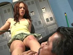 Skinny chick gets fucked in the gym