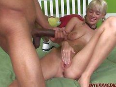 Skinny blonde Kissy Kapri pounded full of big black dick