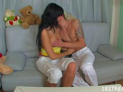 Creampie session with brunette