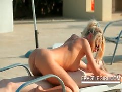 Outdoor lesbian erotic body massage scene