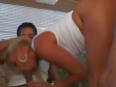 Scorching blonde enjoys threesome