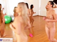 Fitness Rooms Lesbian threesome fitness fuck fest