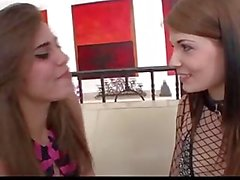 Hot brunette lesbian step sisters licking pussies