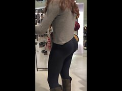 amazing ass on shopping teen (see through leggings)