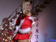 Teen christmas amateur masturbates in uniform