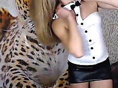 Cute blonde is live on webcam and doing a slow striptease f