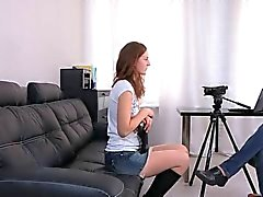 Russian teen girl with small tits drilled in the ass