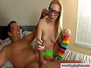 Blonde handjob amateur teen wanking a large mans wang