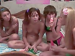 Four russian teenies in live show