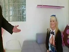 Slutty blonde schoolgirl munches on two dicks and gets an ass fucking