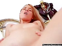 Young girl takes huge cock in her mouth and pussy