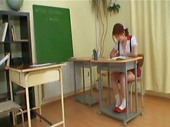 A dirty schoolgirl gets pounded hard in the classroom