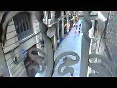 Masturbating with dildo on Barcelona balcony