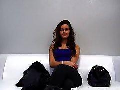 Teen Brunette Girl First Porn Casting