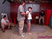 Tiny Japanese babe squirts all over self