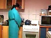 Boy Fucks Horny Housewife's In The Kitchen