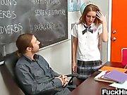 Slutty schoolgirl fucks for better grade