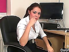 Babe gets an orgasm with a toy during the break time.