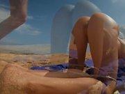 Petite blonde with big ass fucks on the beach! Amateur LeoLulu