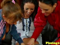 Pissing euroteens toy and squirt in threesome