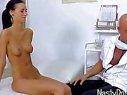 Skinny girl getting a gyno exam and a dick suck