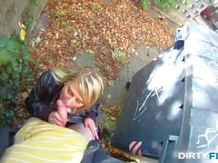 Dirty Flix - Blonde cutie tricked into outdoor sex