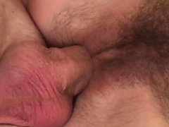 Monster cock stretches a hairy pussy