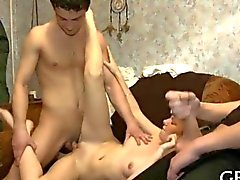 Russian cuckold gets a piece of the action