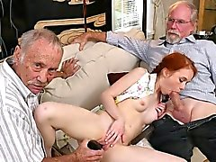 Teen Dolly Little Enjoys Dildo And Old Mans Cock