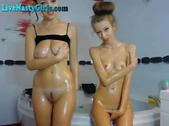 Oiled Up Webcam Lesbo Teens Look Like Sisters