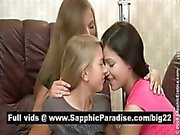 Stunning brunette and blonde lesbians kissing and licking nipples in a three way lesbian orgy