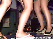 slutty spring break girls dancing on the bar upskirt and flashing boobs