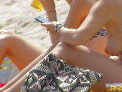 Sexy Bikini Topless Teen Amateur Voyeur Beach Video